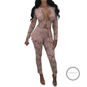 Women Two Piece Sets Hollow Out White Lace Floral Deep V Neck Long Sleeve Top And Pant Suits Pink /