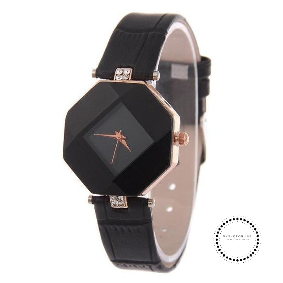 Women Watches Gem Cut Geometry Crystal Leather Quartz W Black Accesorios