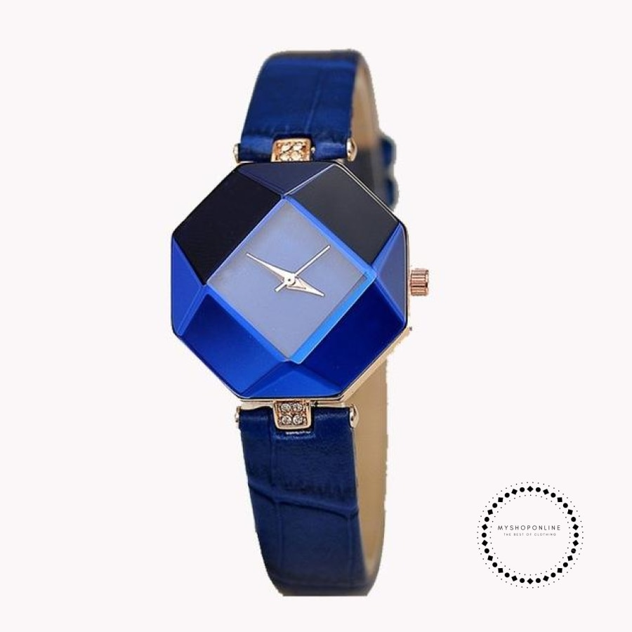 Women Watches Gem Cut Geometry Crystal Leather Quartz W Blue Accesorios