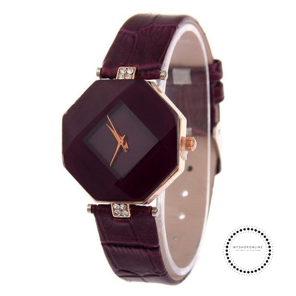 Women Watches Gem Cut Geometry Crystal Leather Quartz W Purple Accesorios