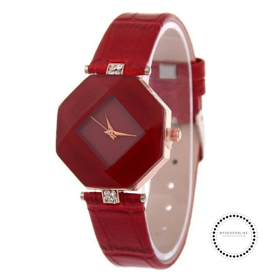 Women Watches Gem Cut Geometry Crystal Leather Quartz W Red Accesorios