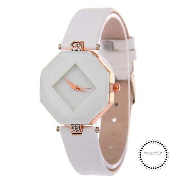 Women Watches Gem Cut Geometry Crystal Leather Quartz W White Accesorios
