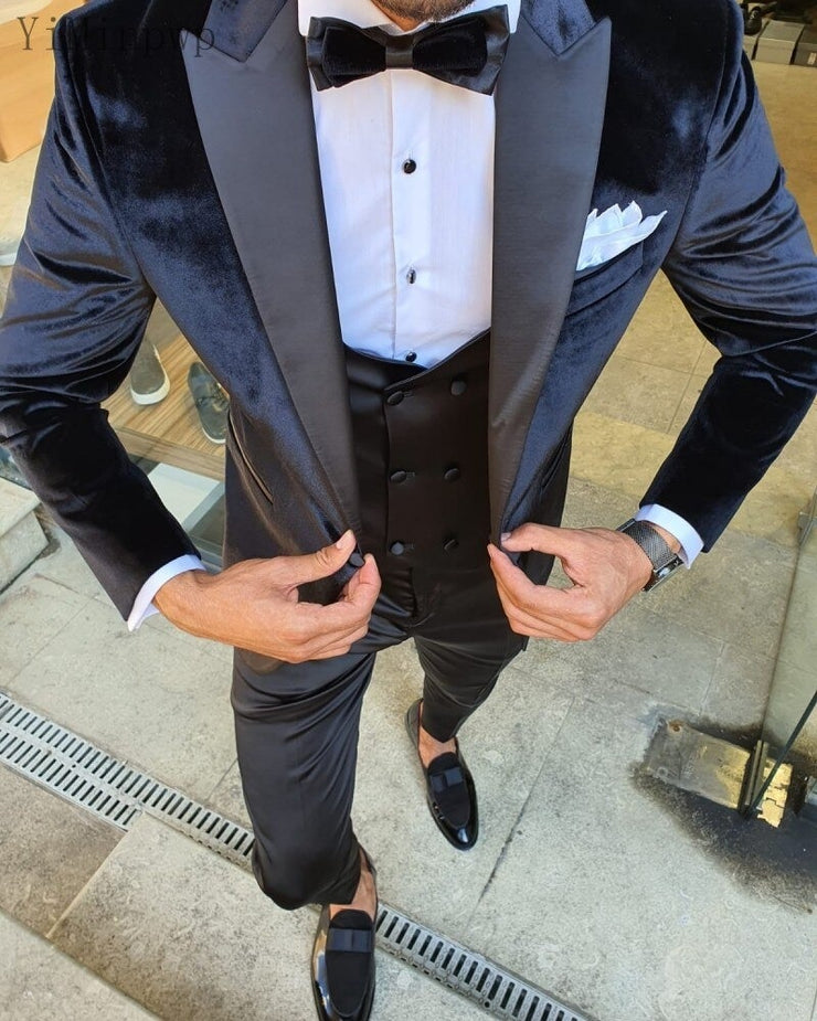 Black Men Suits Peaked Lapel One Button Blazer Jacket Men Tuxedos Groom Wedding Suits Costume Mariage Homme Coat+Pant