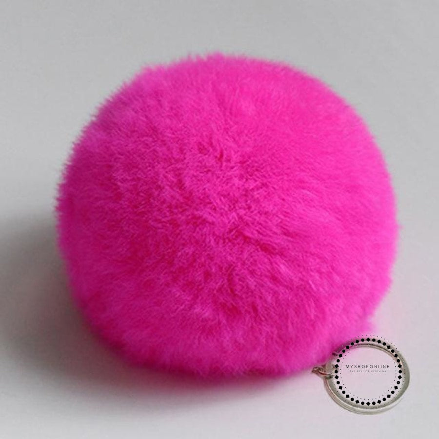 Zoeber New Artificial Rabbit Fur Ball Keychain Cute Pompom Key Ring Lovely Fluffy Fur Rabbit Ear Pendant Keychain Rings women - myshoponline.com