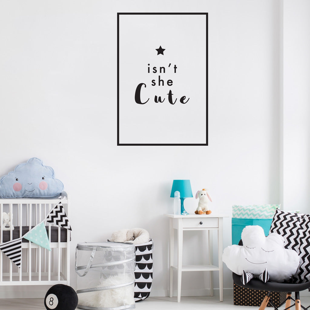 Snt She Cute Wall Decal Girls Room Wall Stickers Quote Decals