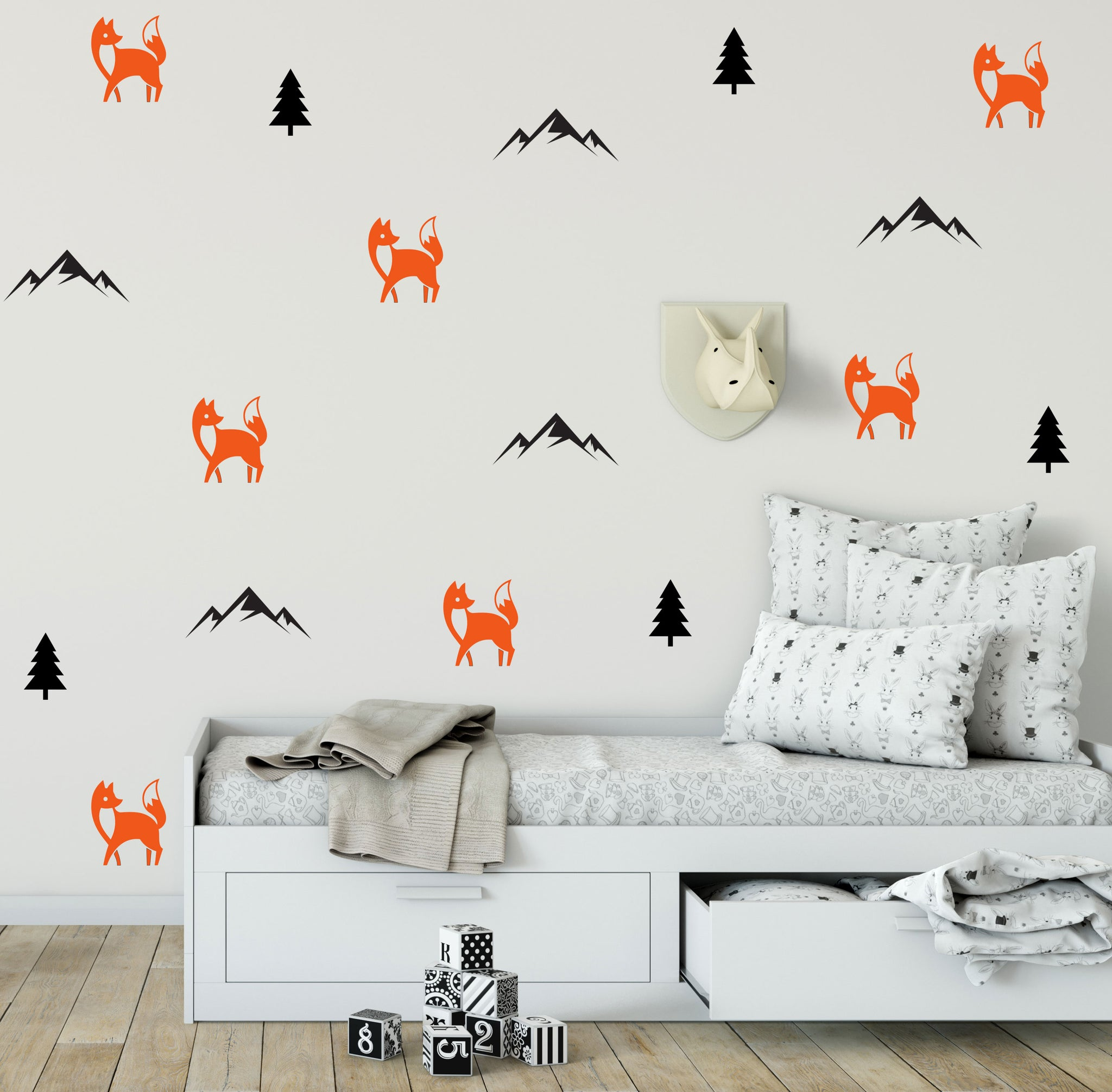 Wonderful Fox And Mountain Decals | Fox Wall Stickers | Mountain Stickers | Tree  Decals | Woodland