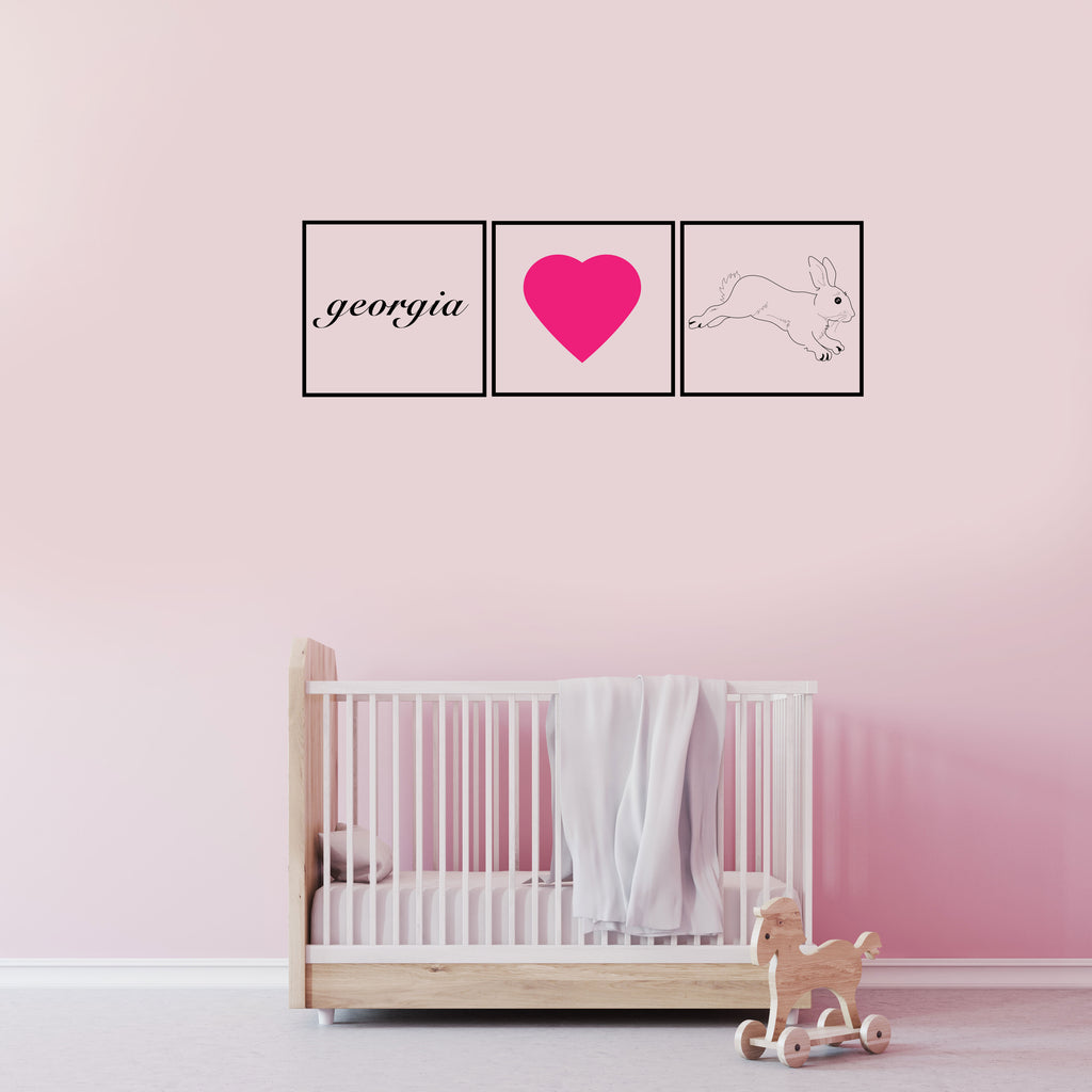 Trio Bunny Name Wall Sticker ...