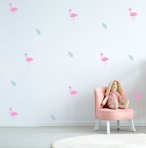 Flamingo Wall Decals   Leaf Decals   Tropical Decals   Nursery Decals   Fun  Kids Wall Stickers   Tropical Decor   Kids Room Ideas