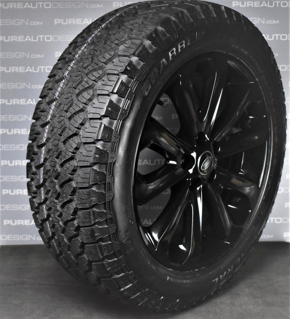 20 inch Range Rover Gloss Black L405 502 Alloy Wheels With General Grabber AT3 Tyres