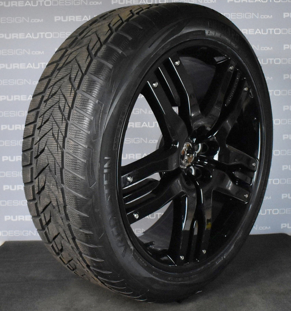 Overfinch Olympus 22 Inch Range Rover Alloy Wheels Piano Gloss Black With Winter Ice & Snow Tyres