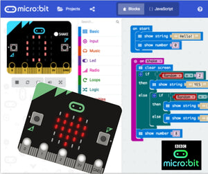 Microbit programming environment to learn coding electronics games and devices