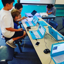 Children are coding electronic games during school holidays program activities