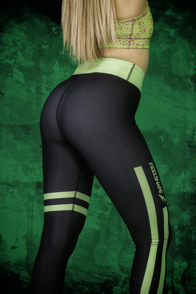 Feelshape Green Stripe Naisten Legginsit