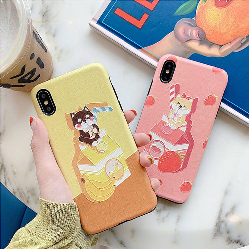 Shiba Inu Fruity Milk iPhone Case