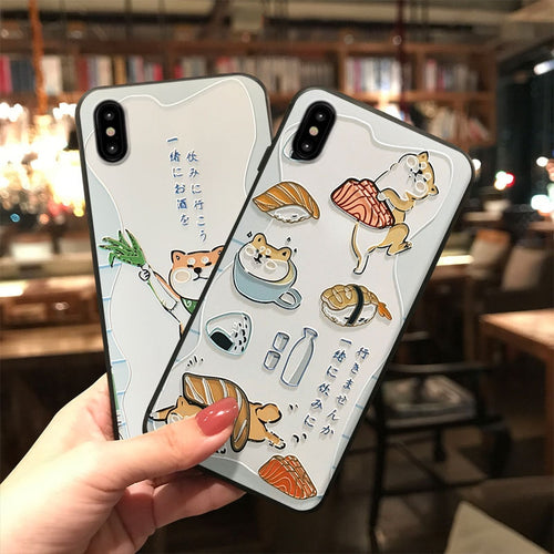 Shiba Inu and Sushi iPhone Case