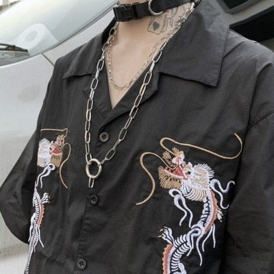 Double Dragon Embroidered Shirt