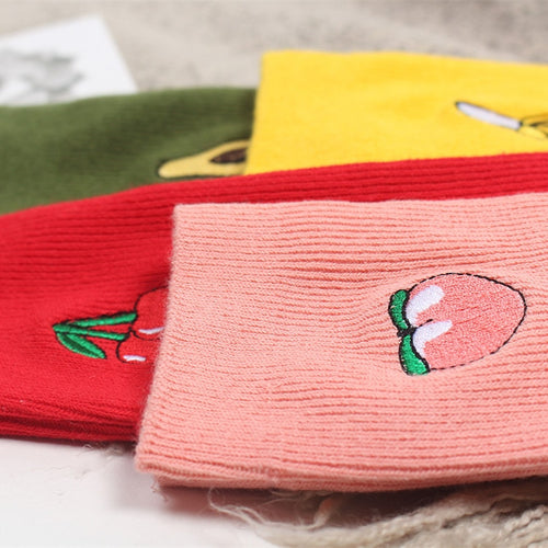 Embroidered Japanese Fruity Socks