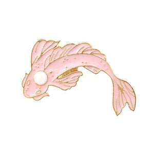 Pink and White Koi Carp Badges
