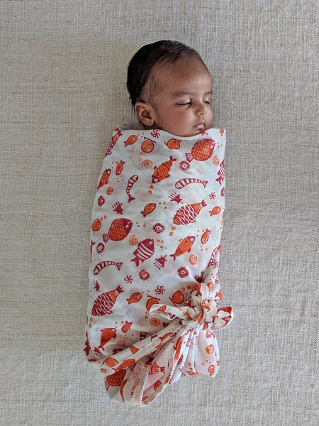 Koi Red Bag - Angarakha, Pyjama Pants and Swaddle Set - Whitewater