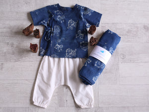 Zoo Bag - Angarakha, Pyjama Pants and Swaddle Set - Whitewater