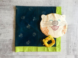Zoo Bag - Baby Blanket ,Teether and Pillow - Whitewater