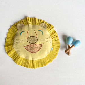 Hand-embroidered Organic Cotton Mustard Seeds Pillow + Maracas - Lion