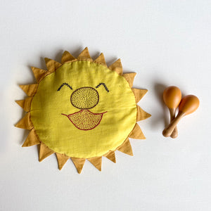 Hand-embroidered Organic Cotton Mustard Seeds Pillow + Maracas - Dhruv Tara