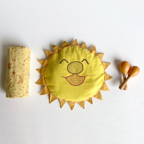 Newborn Gift Set | Organic Cotton Mustard Seeds Pillow and Swaddle + Maracas - Dhruv Tara
