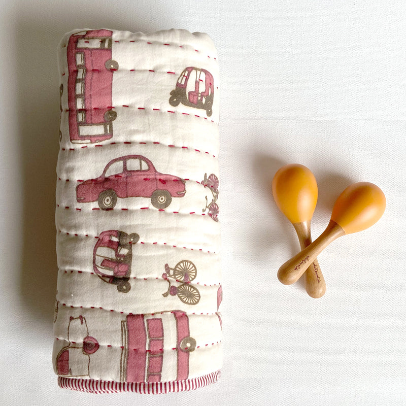 Newborn Gift Set | Organic Gaari Receiving Blanket + Maracas
