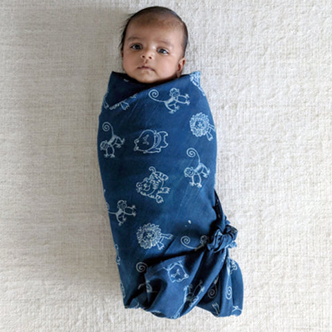 Organic Muslin Swaddle Wrap - Zoo