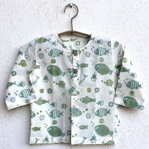 Organic Cotton Zoo Angarakha / Kimono Top, Apparel, Baby clothing, Infantwear, Newborn clothing. Organic Baby Clothing, Newborn Gift Set, sustainable baby, conscious clothing, baby kurta pajamas, baby angrakha, whitewater kids, newborn baby clothes,
