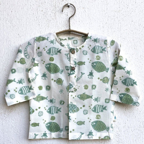 Organic Cotton Koi Mint Kurta Top