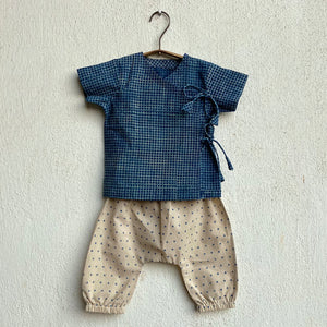 Organic Cotton Indigo Checks Angarakha and Indigo Raidana Pajama Pants Set