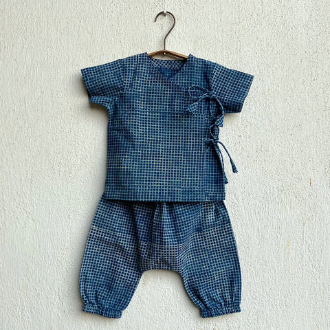 Organic Cotton Indigo Checks Angarakha and Pajama Pants Set