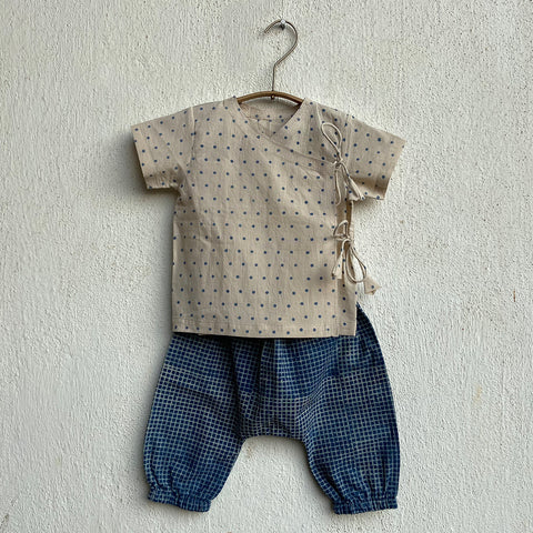 Organic Cotton Indigo Raidana Angarakha and Indigo Checks Pajama Pants Set