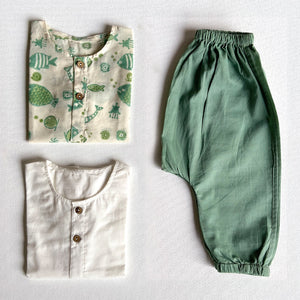 Organic Cotton Koi Bag  - Koi Mint Kurta + Essential White Kurta with  Mint Pajama Pants Set