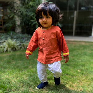 Organic Cotton Madder Kurta  +  White Pants Set