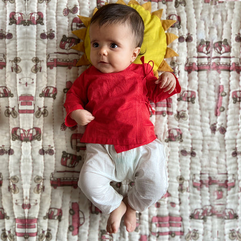 Organic Cotton Koi Bag - Red Angarakha and White Pajama Pants Set