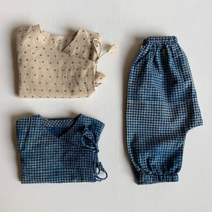Organic Cotton Zoo Bag -  Indigo Raidana Angarakha + Indigo Checks Angarakha + Indigo Checks Pajama Pants