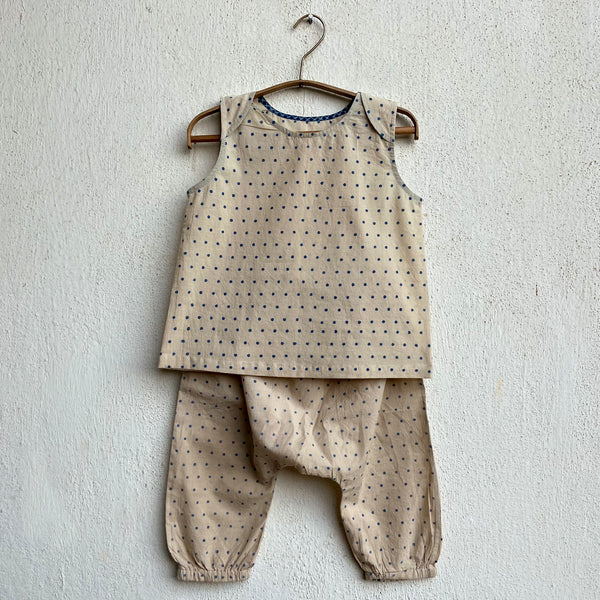 Organic Cotton Indigo Raidana Jhabla and Indigo Raidana Pajama Pants Set