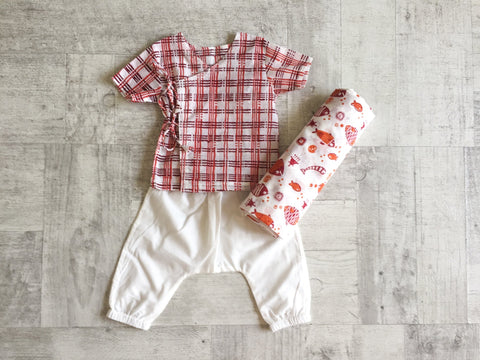 Manjha Bag - Angarakha, Pyjama Pants and Swaddle Set - Whitewater