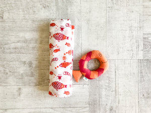 Koi Bag - Swaddle and Teether Set - Whitewater