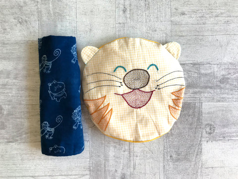 Zoo Bag - Swaddle and Tiger Mustard Seeds / Rai Pillow Set - Whitewater