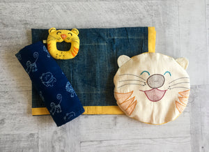 Zoo Bag - Baby Blanket, Swaddle, Teether and Tiger Mustard / Seeds Rai Pillow Set - Whitewater