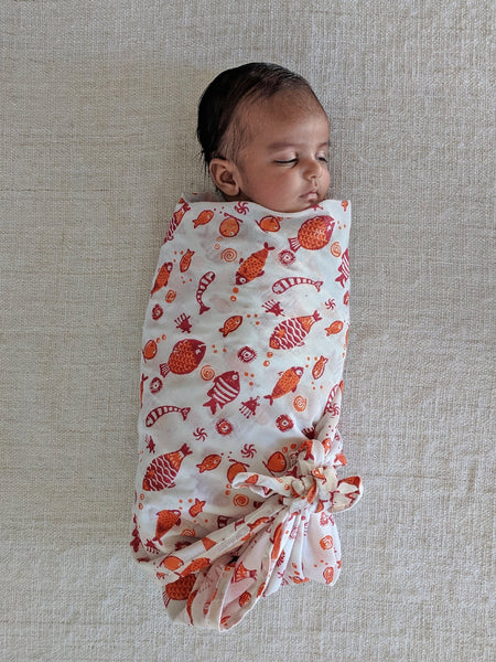 Koi Muslin Swaddle Wrap - Whitewater