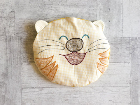 Hand-embroidered Tiger Baby Pillow - Whitewater