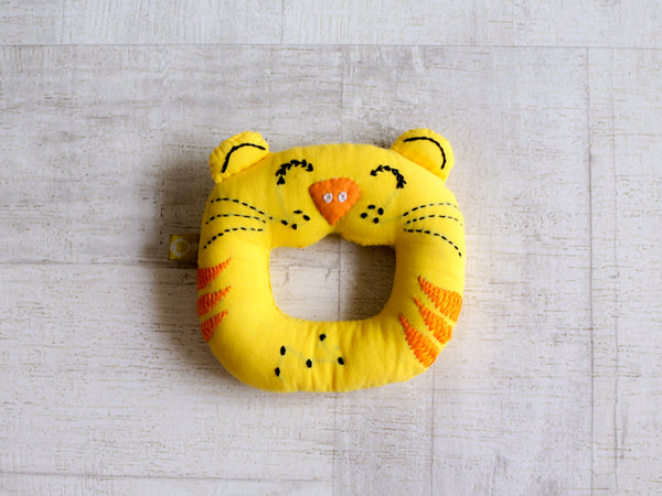 Zoo Bag - Baby Blanket, Teether and Tiger Mustard Seeds / Rai Pillow Set - Whitewater