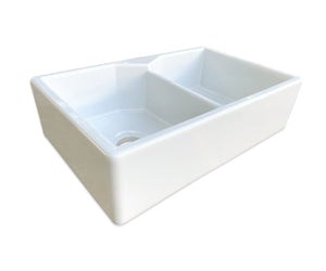 Hand made tradional belfast sinks for kitchen or laundry rooms - twin bowl white