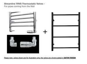 Heated Black Towel Rails - Small ladder radiator 700mm x 520mm