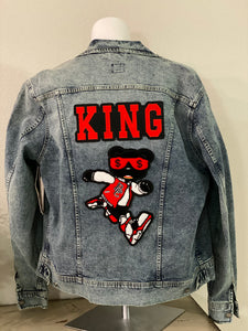 "(New) King Hype Bear- Custom ""Reworked"" Denim Jacket Men's Size Large"